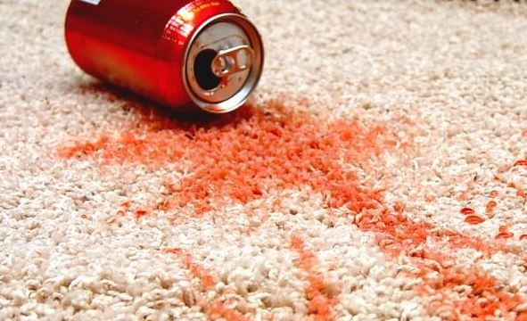 Soda carpet stains in house